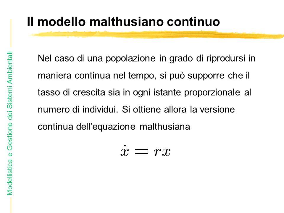 Modellistica e Gestione dei Sistemi Ambientali Il modello malthusiano continuo Nel caso di una popolazione in grado di riprodursi in maniera continua nel tempo, si può supporre che il tasso di crescita sia in ogni istante proporzionale al numero di individui.