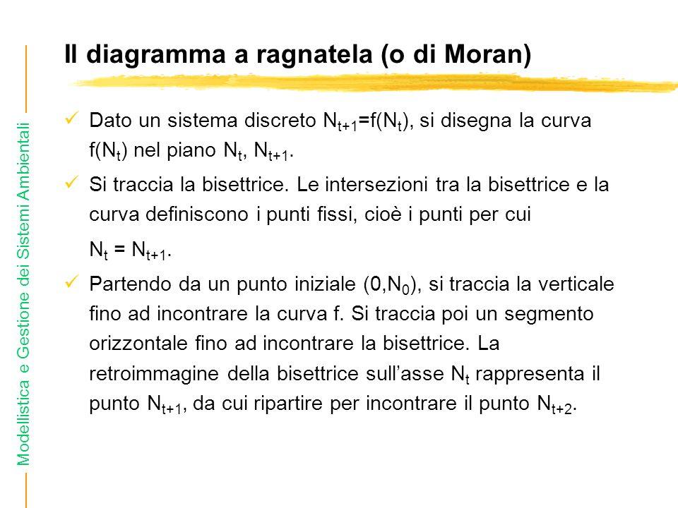 Modellistica e Gestione dei Sistemi Ambientali Il diagramma a ragnatela (o di Moran) Dato un sistema discreto N t+1 =f(N t ), si disegna la curva f(N t ) nel piano N t, N t+1.