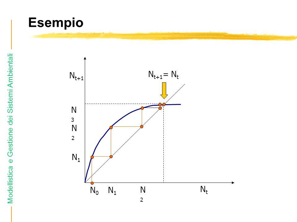 Modellistica e Gestione dei Sistemi Ambientali Esempio N0N0 N1N1 N1N1 N2N2 N2N2 N3N3 N t+1 NtNt N t+1 = N t