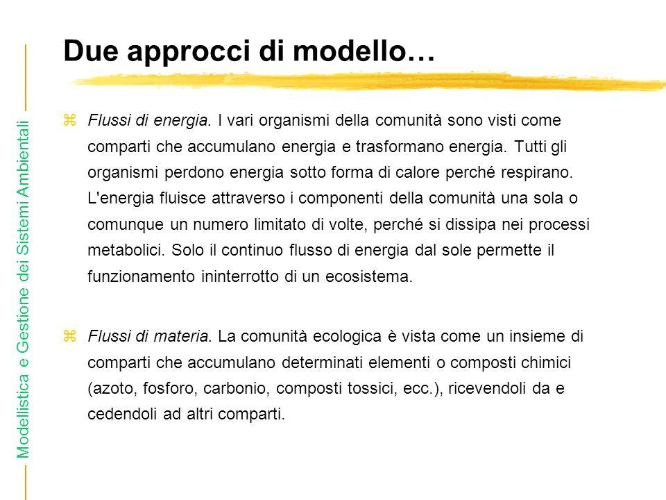 Modellistica e Gestione dei Sistemi Ambientali Due approcci di modello… zFlussi di energia.