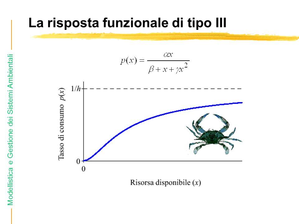 Modellistica e Gestione dei Sistemi Ambientali La risposta funzionale di tipo III