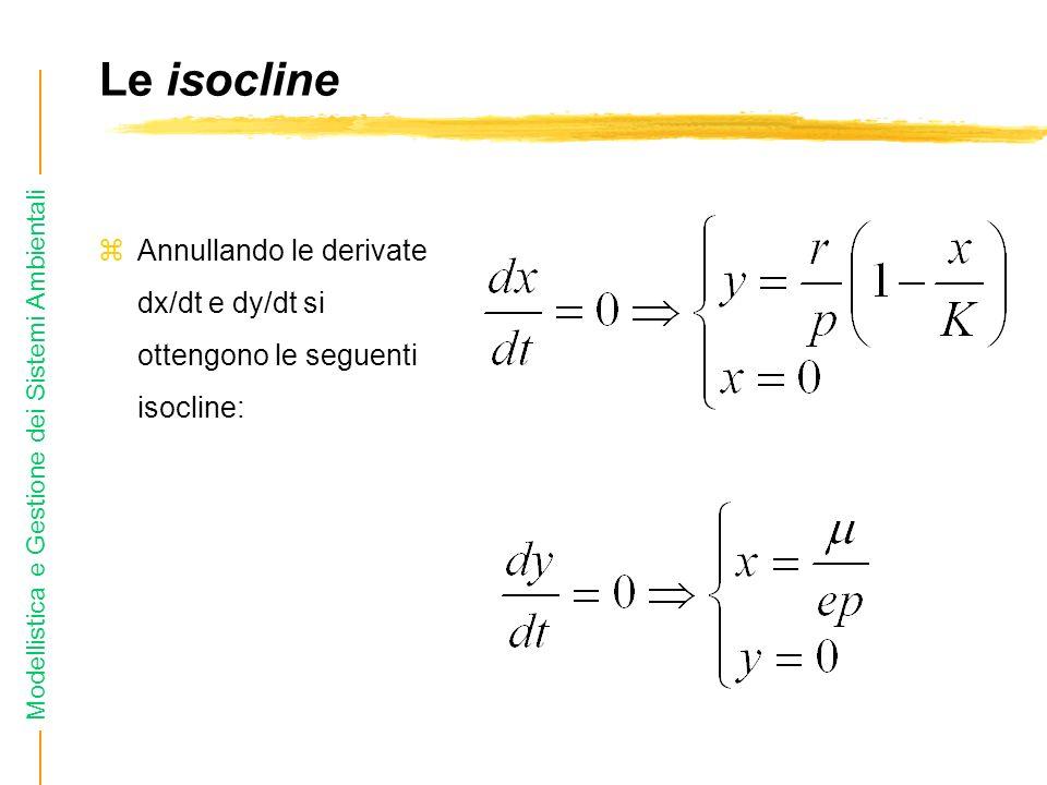 Modellistica e Gestione dei Sistemi Ambientali Le isocline zAnnullando le derivate dx/dt e dy/dt si ottengono le seguenti isocline: