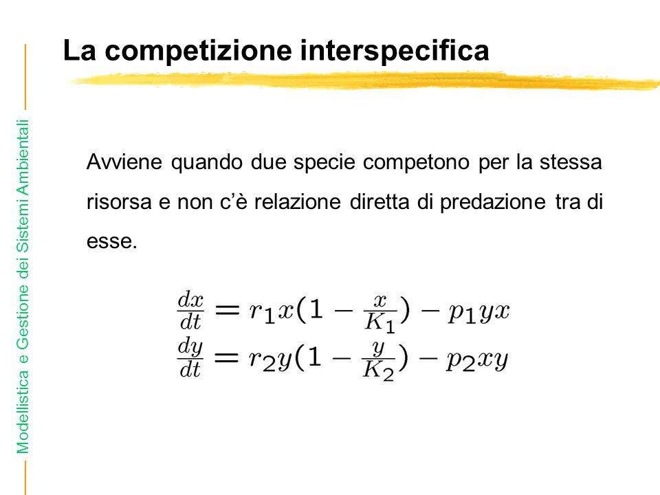 Modellistica e Gestione dei Sistemi Ambientali La competizione interspecifica Avviene quando due specie competono per la stessa risorsa e non cè relazione diretta di predazione tra di esse.