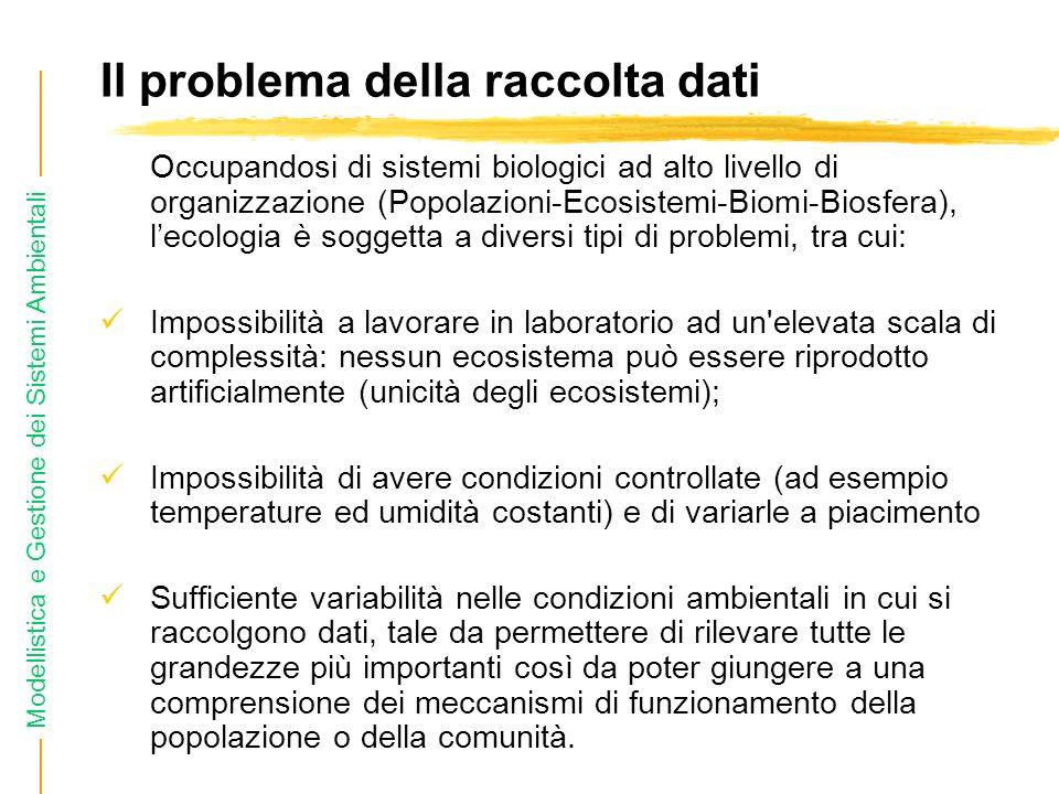 Modellistica e Gestione dei Sistemi Ambientali Il problema della raccolta dati Occupandosi di sistemi biologici ad alto livello di organizzazione (Popolazioni-Ecosistemi-Biomi-Biosfera), lecologia è soggetta a diversi tipi di problemi, tra cui: Impossibilità a lavorare in laboratorio ad un elevata scala di complessità: nessun ecosistema può essere riprodotto artificialmente (unicità degli ecosistemi); Impossibilità di avere condizioni controllate (ad esempio temperature ed umidità costanti) e di variarle a piacimento Sufficiente variabilità nelle condizioni ambientali in cui si raccolgono dati, tale da permettere di rilevare tutte le grandezze più importanti così da poter giungere a una comprensione dei meccanismi di funzionamento della popolazione o della comunità.