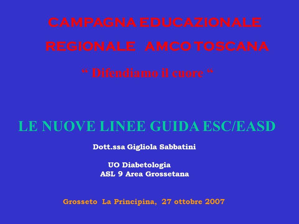 CAMPAGNA EDUCAZIONALE REGIONALE AMCO TOSCANA Difendiamo il cuore LE NUOVE LINEE GUIDA ESC/EASD Dott.ssa Gigliola Sabbatini UO Diabetologia ASL 9 Area