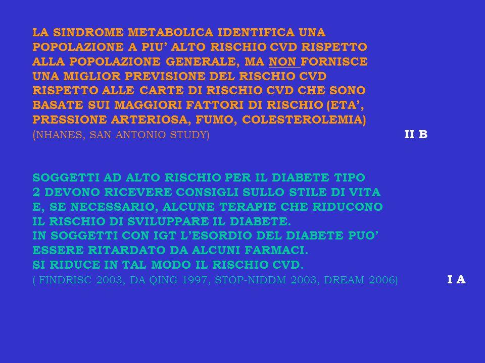 LA SINDROME METABOLICA IDENTIFICA UNA POPOLAZIONE A PIU ALTO RISCHIO CVD RISPETTO ALLA POPOLAZIONE GENERALE, MA NON FORNISCE UNA MIGLIOR PREVISIONE DE