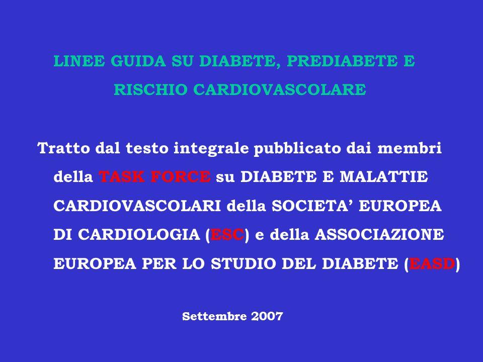 OBIETTIVI DI CONTROLLO GLICEMICO RACCOMANDATI NELLA CURA DEL DM Organizzazione HbA1c(%) Glicemia a digiuno Glicemia post- (mg/dl) prandiale ADA < 7 < 120 nessuno IDF FRANCIA = < 6.5 =< 108 = < 135 AACE =< 6.5 =< 108 < 140 ADA= American Diabetes Association IDF= International Diabetes Federation AACE = American College of Endocrinology