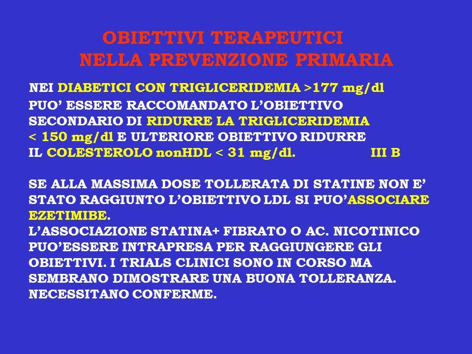 OBIETTIVI TERAPEUTICI NELLA PREVENZIONE PRIMARIA PUO ESSERE RACCOMANDATO LOBIETTIVO SECONDARIO DI RIDURRE LA TRIGLICERIDEMIA < 150 mg/dl E ULTERIORE O