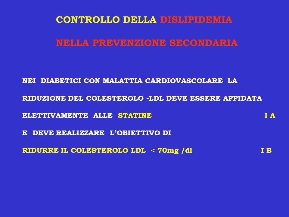 CONTROLLO DELLA DISLIPIDEMIA NELLA PREVENZIONE SECONDARIA NEI DIABETICI CON MALATTIA CARDIOVASCOLARE LA RIDUZIONE DEL COLESTEROLO -LDL DEVE ESSERE AFF