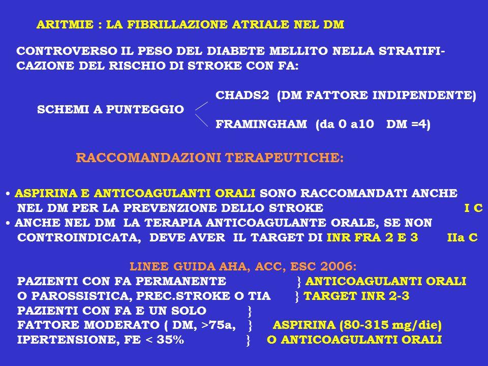 ARITMIE : LA FIBRILLAZIONE ATRIALE NEL DM CONTROVERSO IL PESO DEL DIABETE MELLITO NELLA STRATIFI- CAZIONE DEL RISCHIO DI STROKE CON FA: CHADS2 (DM FAT