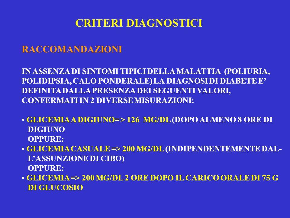 LA SINDROME METABOLICA IDENTIFICA UNA POPOLAZIONE A PIU ALTO RISCHIO CVD RISPETTO ALLA POPOLAZIONE GENERALE, MA NON FORNISCE UNA MIGLIOR PREVISIONE DEL RISCHIO CVD RISPETTO ALLE CARTE DI RISCHIO CVD CHE SONO BASATE SUI MAGGIORI FATTORI DI RISCHIO (ETA, PRESSIONE ARTERIOSA, FUMO, COLESTEROLEMIA) ( NHANES, SAN ANTONIO STUDY) II B SOGGETTI AD ALTO RISCHIO PER IL DIABETE TIPO 2 DEVONO RICEVERE CONSIGLI SULLO STILE DI VITA E, SE NECESSARIO, ALCUNE TERAPIE CHE RIDUCONO IL RISCHIO DI SVILUPPARE IL DIABETE.