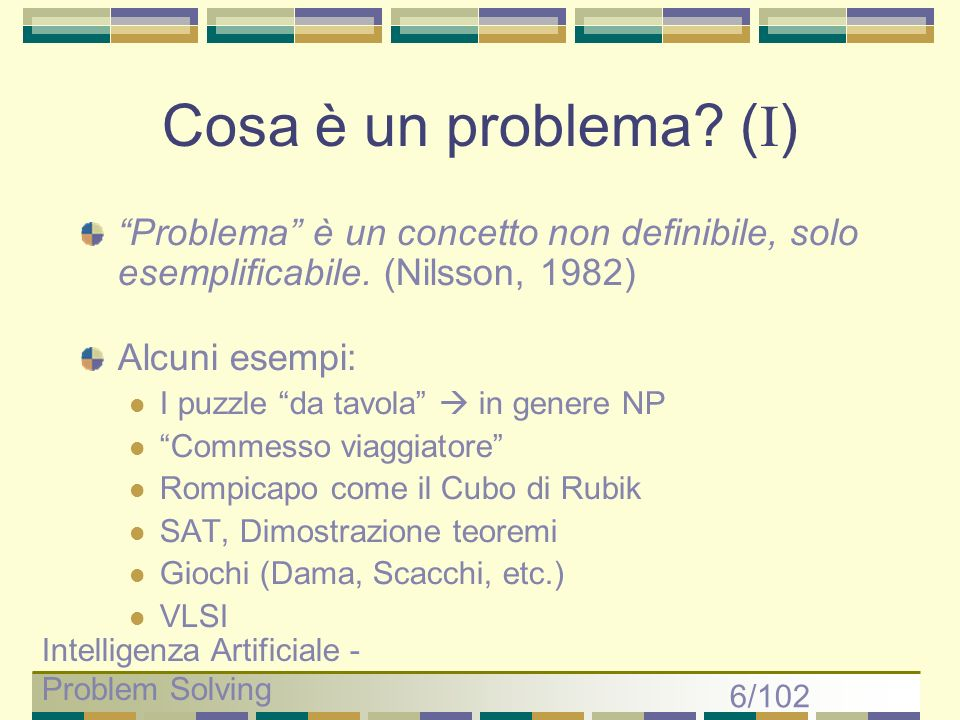Intelligenza Artificiale - Problem Solving 17/102 Depth First - simulazione GOAL backtracking