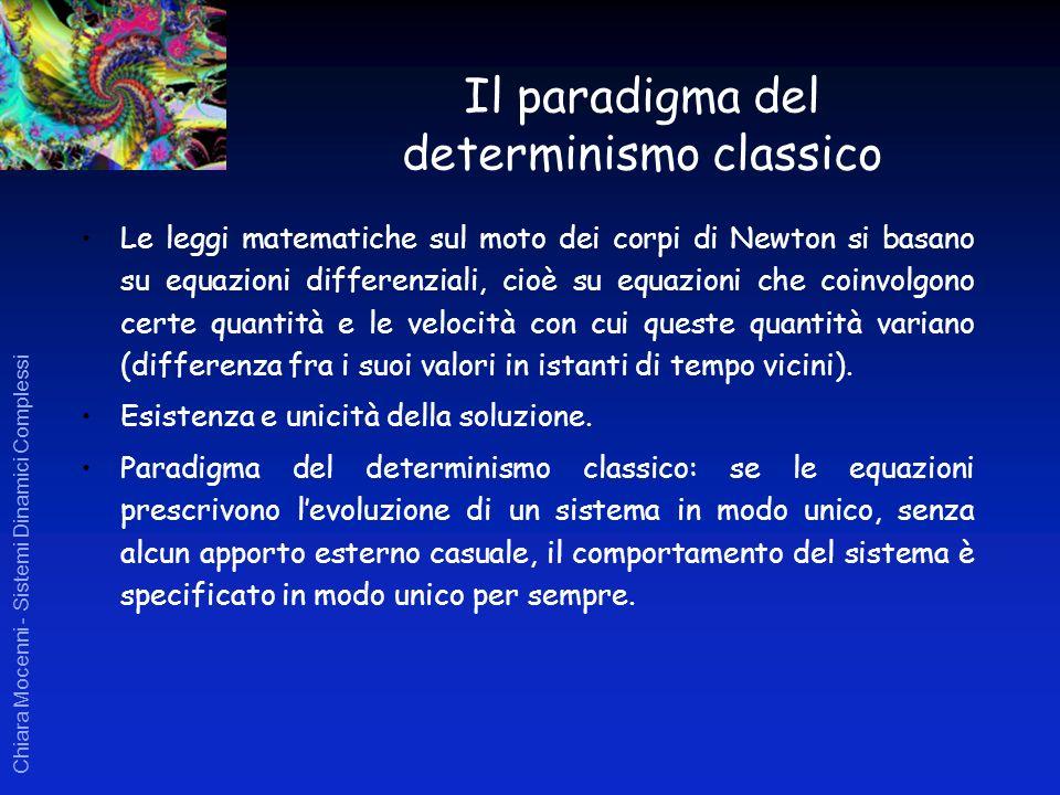 Chiara Mocenni - Sistemi Dinamici Complessi Il paradigma del determinismo classico Le leggi matematiche sul moto dei corpi di Newton si basano su equa