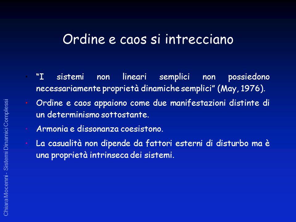 Chiara Mocenni - Sistemi Dinamici Complessi Ordine e caos si intrecciano I sistemi non lineari semplici non possiedono necessariamente proprietà dinam