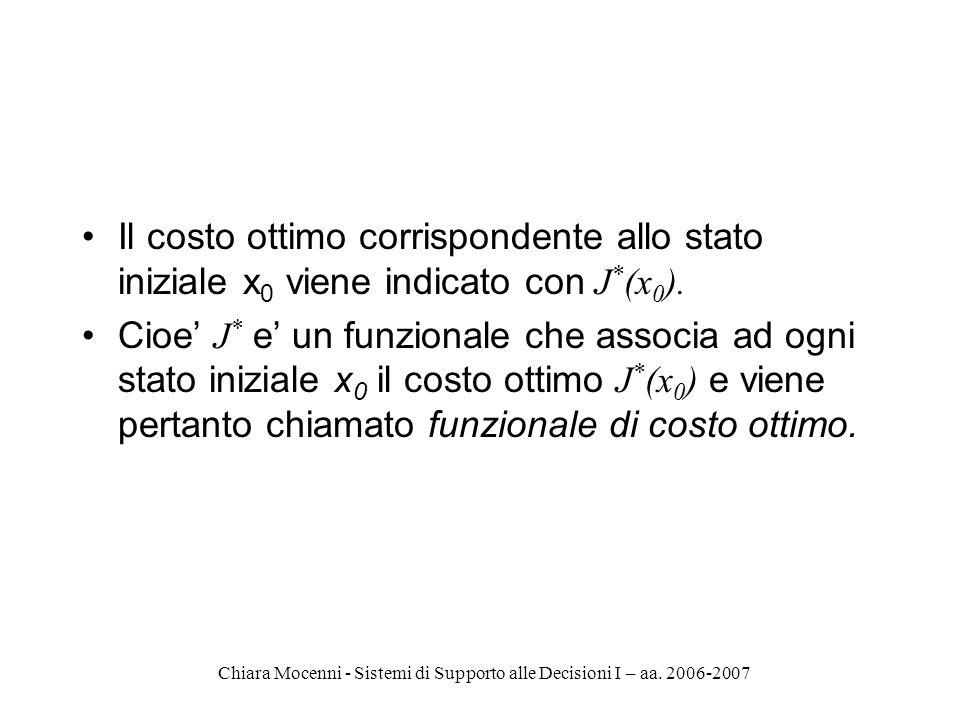 Chiara Mocenni - Sistemi di Supporto alle Decisioni I – aa. 2006-2007 Il costo ottimo corrispondente allo stato iniziale x 0 viene indicato con J * (x