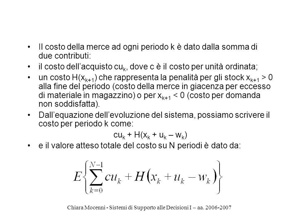 Chiara Mocenni - Sistemi di Supporto alle Decisioni I – aa. 2006-2007 Il costo della merce ad ogni periodo k è dato dalla somma di due contributi: il