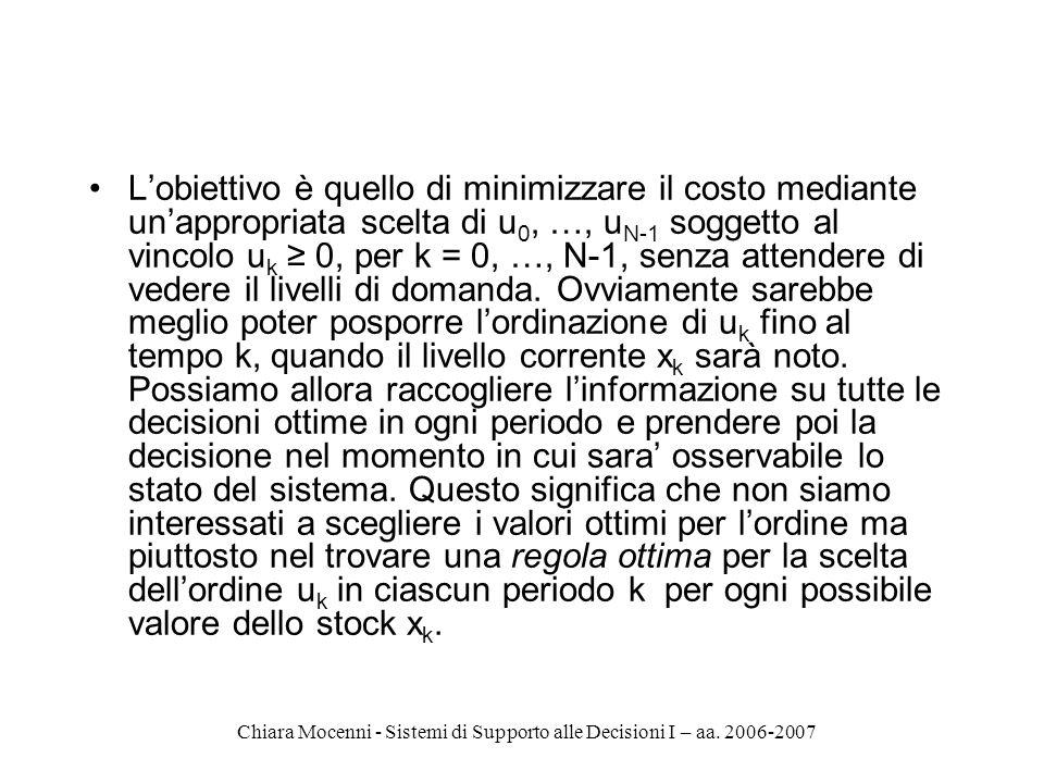 Chiara Mocenni - Sistemi di Supporto alle Decisioni I – aa. 2006-2007 Lobiettivo è quello di minimizzare il costo mediante unappropriata scelta di u 0
