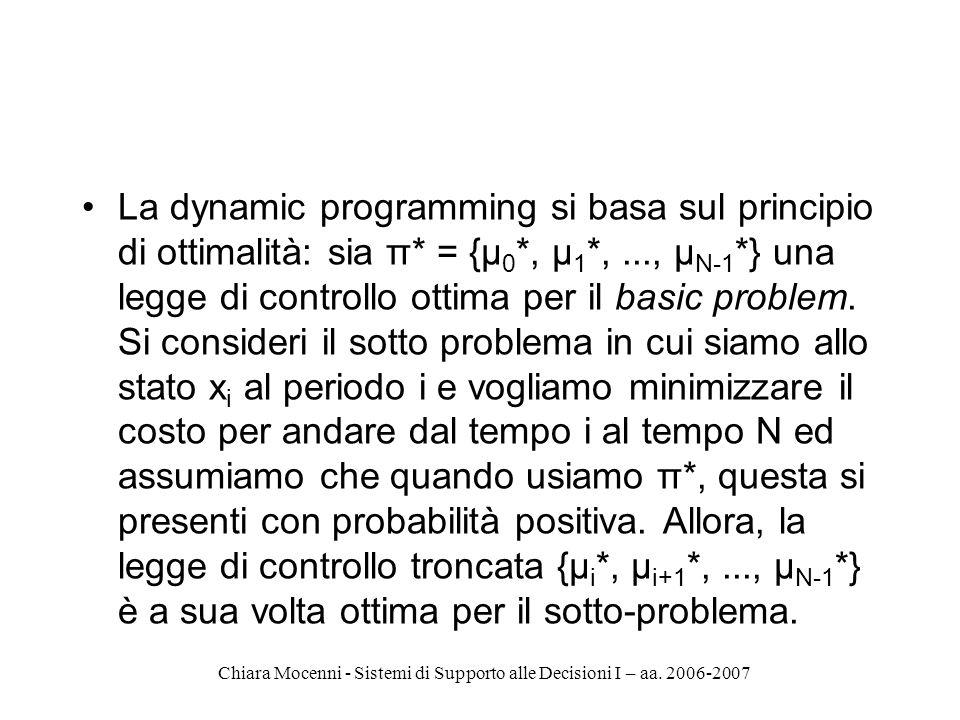 Chiara Mocenni - Sistemi di Supporto alle Decisioni I – aa. 2006-2007 La dynamic programming si basa sul principio di ottimalità: sia π* = {μ 0 *, μ 1