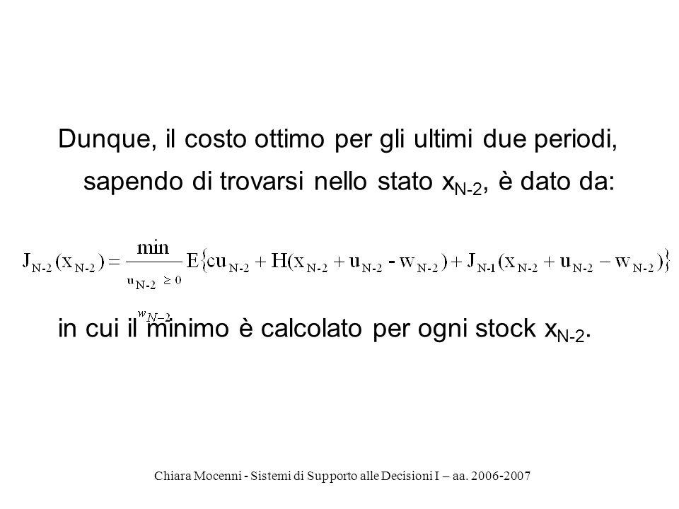 Chiara Mocenni - Sistemi di Supporto alle Decisioni I – aa. 2006-2007 Dunque, il costo ottimo per gli ultimi due periodi, sapendo di trovarsi nello st