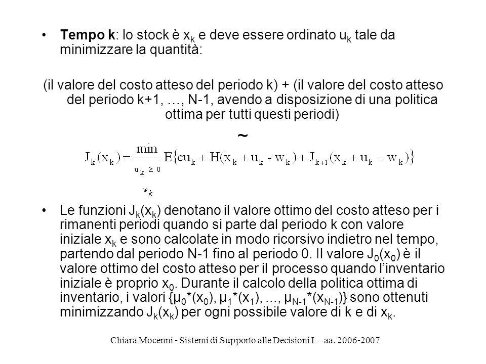 Chiara Mocenni - Sistemi di Supporto alle Decisioni I – aa. 2006-2007 Tempo k: lo stock è x k e deve essere ordinato u k tale da minimizzare la quanti