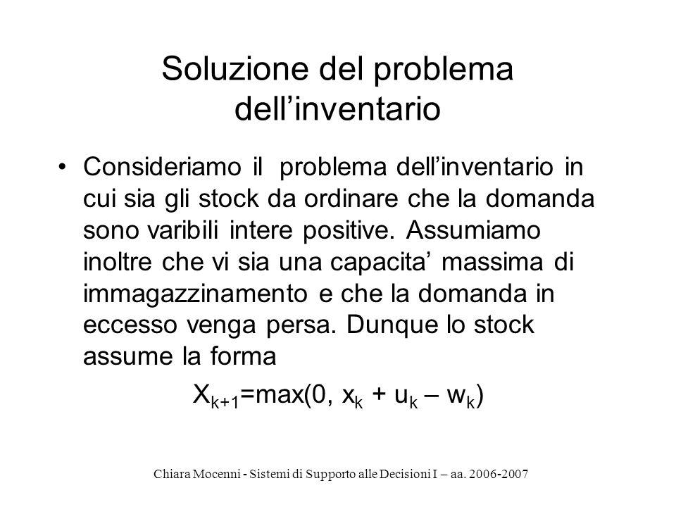 Chiara Mocenni - Sistemi di Supporto alle Decisioni I – aa. 2006-2007 Soluzione del problema dellinventario Consideriamo il problema dellinventario in
