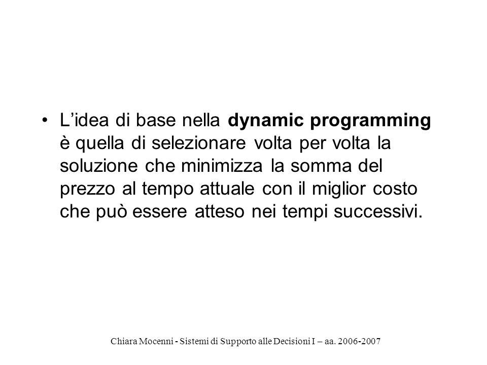 Chiara Mocenni - Sistemi di Supporto alle Decisioni I – aa. 2006-2007 Lidea di base nella dynamic programming è quella di selezionare volta per volta