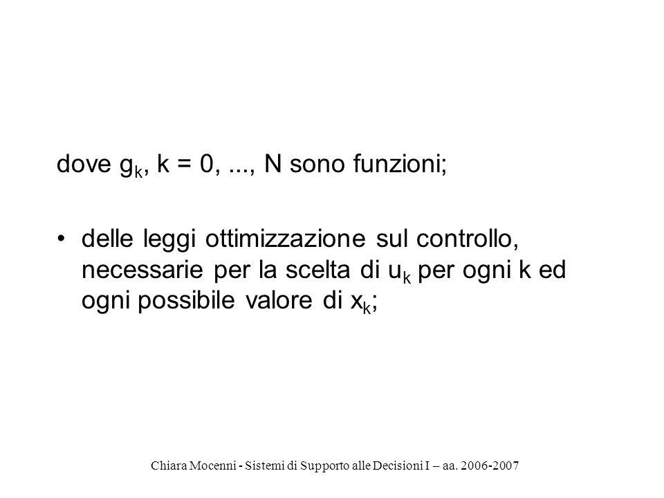 Chiara Mocenni - Sistemi di Supporto alle Decisioni I – aa. 2006-2007 dove g k, k = 0,..., N sono funzioni; delle leggi ottimizzazione sul controllo,