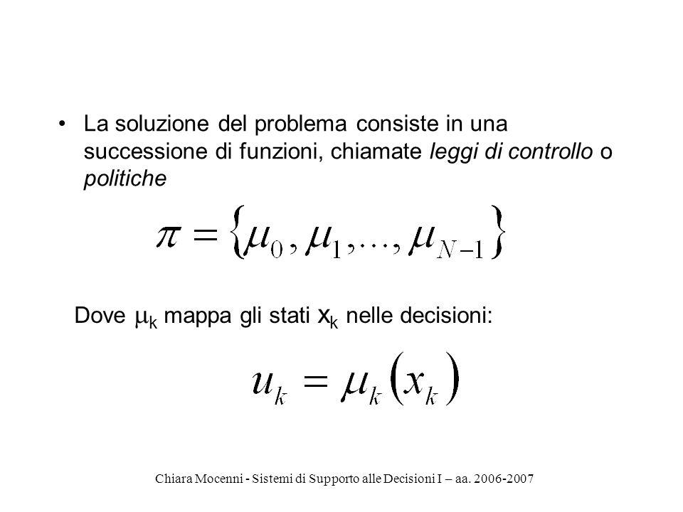 Chiara Mocenni - Sistemi di Supporto alle Decisioni I – aa. 2006-2007 La soluzione del problema consiste in una successione di funzioni, chiamate legg