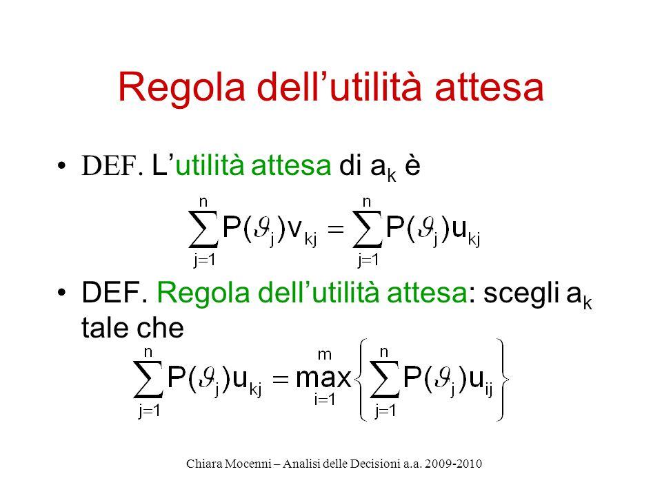 Chiara Mocenni – Analisi delle Decisioni a.a. 2009-2010 Regola dellutilità attesa DEF.