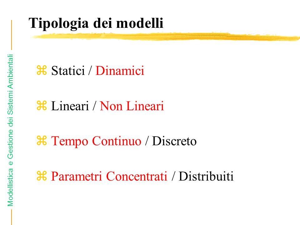 Modellistica e Gestione dei Sistemi Ambientali z Statici / Dinamici z Lineari / Non Lineari z Tempo Continuo / Discreto z Parametri Concentrati / Dist