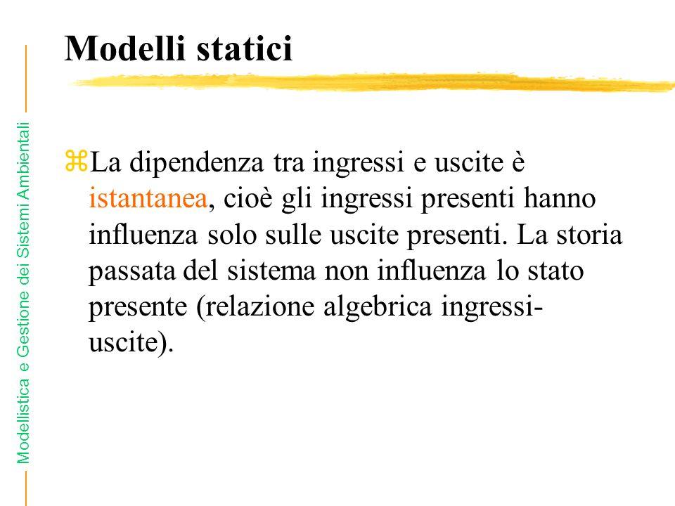 Modellistica e Gestione dei Sistemi Ambientali Modelli statici zLa dipendenza tra ingressi e uscite è istantanea, cioè gli ingressi presenti hanno inf