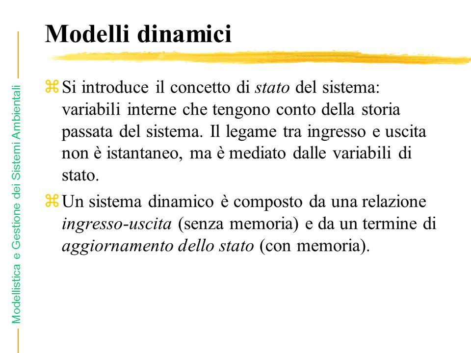 Modellistica e Gestione dei Sistemi Ambientali Modelli dinamici zSi introduce il concetto di stato del sistema: variabili interne che tengono conto de