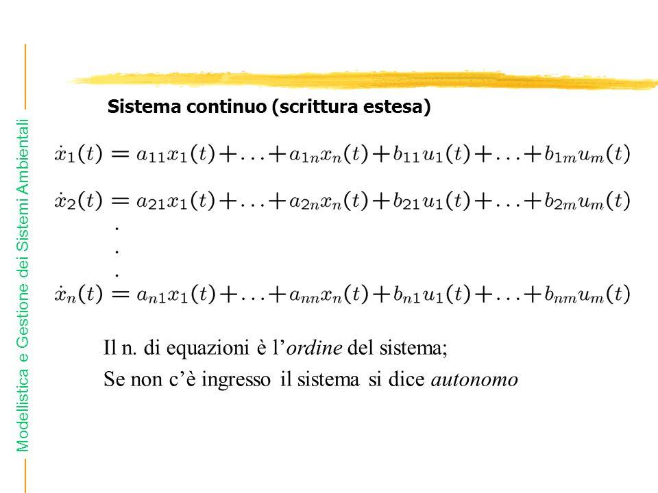 Modellistica e Gestione dei Sistemi Ambientali Il n. di equazioni è lordine del sistema; Se non cè ingresso il sistema si dice autonomo Sistema contin