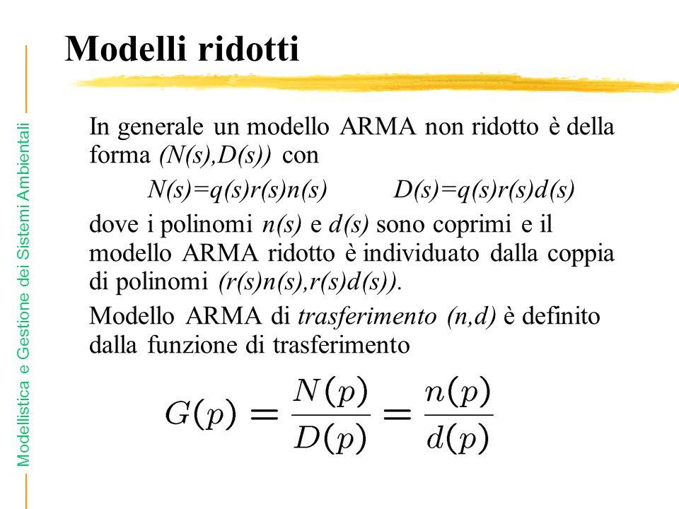 Modellistica e Gestione dei Sistemi Ambientali Modelli ridotti In generale un modello ARMA non ridotto è della forma (N(s),D(s)) con N(s)=q(s)r(s)n(s)
