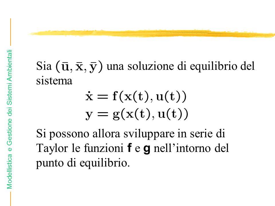 Modellistica e Gestione dei Sistemi Ambientali Sia una soluzione di equilibrio del sistema Si possono allora sviluppare in serie di Taylor le funzioni