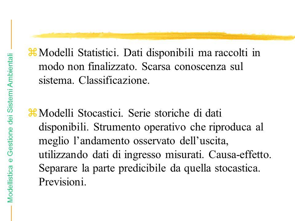 Modellistica e Gestione dei Sistemi Ambientali zModelli Statistici. Dati disponibili ma raccolti in modo non finalizzato. Scarsa conoscenza sul sistem