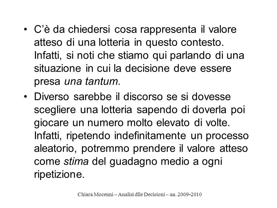 Chiara Mocenni – Analisi dlle Decisioni – aa. 2009-2010 Cè da chiedersi cosa rappresenta il valore atteso di una lotteria in questo contesto. Infatti,