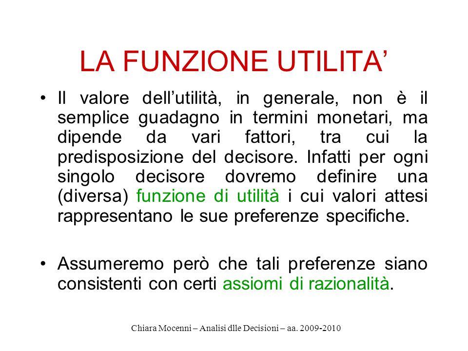 Chiara Mocenni – Analisi dlle Decisioni – aa. 2009-2010 LA FUNZIONE UTILITA Il valore dellutilità, in generale, non è il semplice guadagno in termini