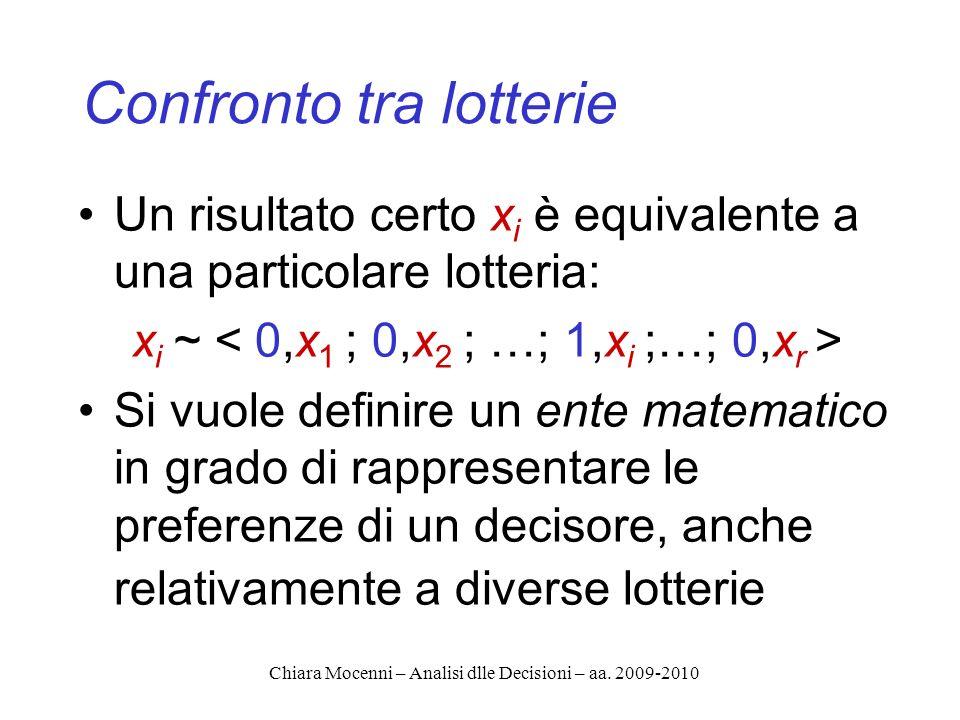 Chiara Mocenni – Analisi dlle Decisioni – aa. 2009-2010 Confronto tra lotterie Un risultato certo x i è equivalente a una particolare lotteria: x i ~