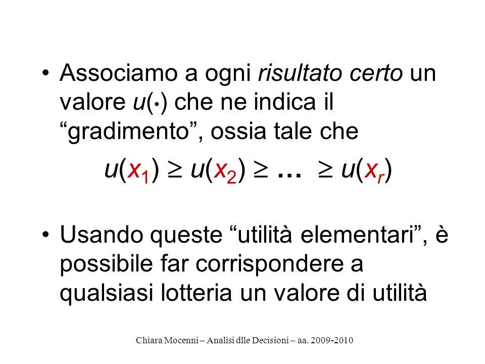 Chiara Mocenni – Analisi dlle Decisioni – aa. 2009-2010 Associamo a ogni risultato certo un valore u( ) che ne indica il gradimento, ossia tale che u(