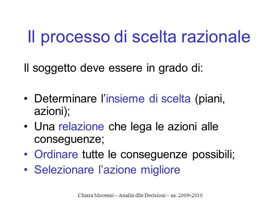 Chiara Mocenni – Analisi dlle Decisioni – aa. 2009-2010 Il processo di scelta razionale Il soggetto deve essere in grado di: Determinare linsieme di s