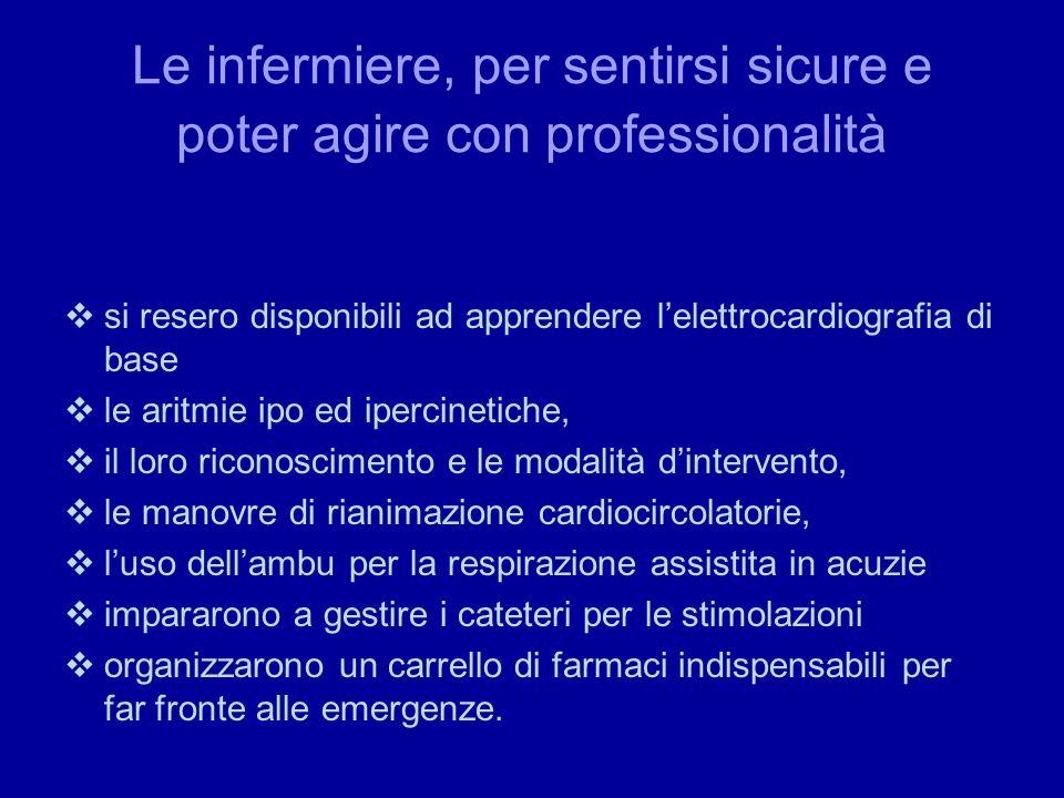 Le infermiere, per sentirsi sicure e poter agire con professionalità si resero disponibili ad apprendere lelettrocardiografia di base le aritmie ipo e