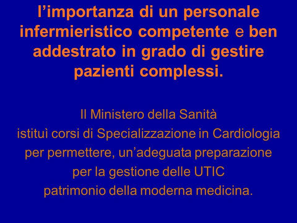 limportanza di un personale infermieristico competente e ben addestrato in grado di gestire pazienti complessi. Il Ministero della Sanità istituì cors