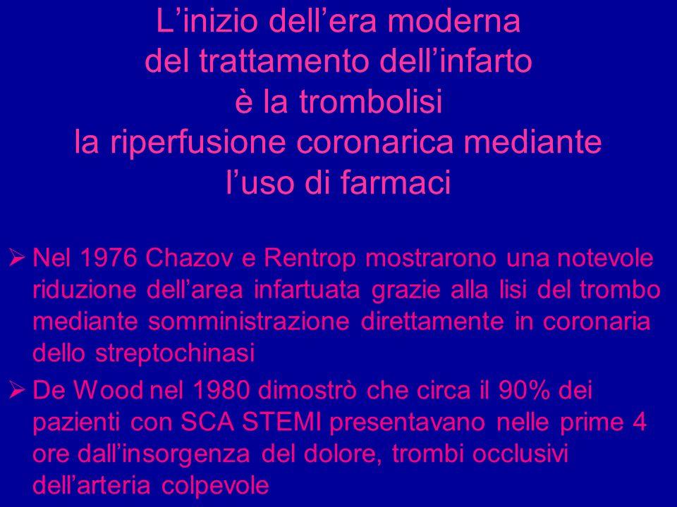 Linizio dellera moderna del trattamento dellinfarto è la trombolisi la riperfusione coronarica mediante luso di farmaci Nel 1976 Chazov e Rentrop most