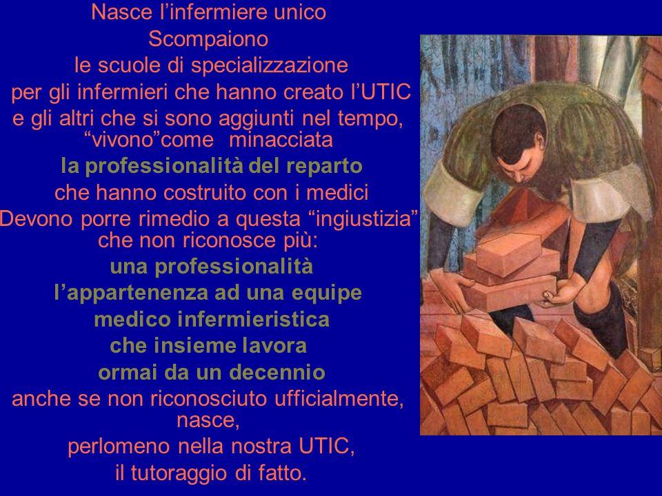 Nasce linfermiere unico Scompaiono le scuole di specializzazione per gli infermieri che hanno creato lUTIC e gli altri che si sono aggiunti nel tempo,