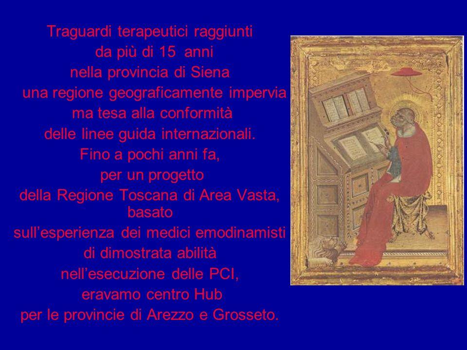 Traguardi terapeutici raggiunti da più di 15 anni nella provincia di Siena una regione geograficamente impervia ma tesa alla conformità delle linee gu