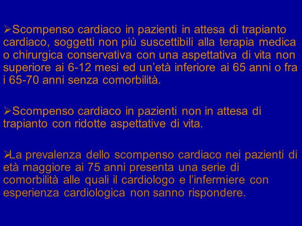 Scompenso cardiaco in pazienti in attesa di trapianto cardiaco, soggetti non più suscettibili alla terapia medica o chirurgica conservativa con una as