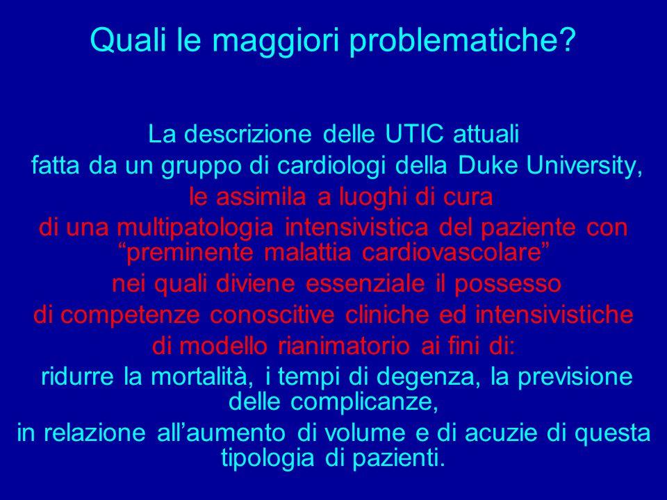 Quali le maggiori problematiche? La descrizione delle UTIC attuali fatta da un gruppo di cardiologi della Duke University, le assimila a luoghi di cur