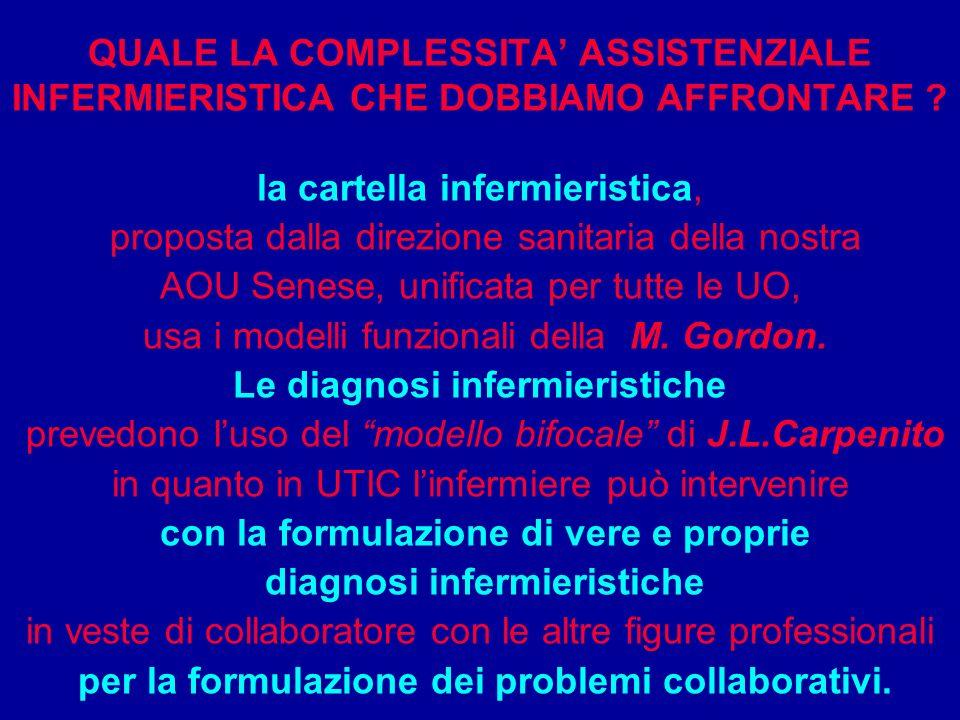 QUALE LA COMPLESSITA ASSISTENZIALE INFERMIERISTICA CHE DOBBIAMO AFFRONTARE ? la cartella infermieristica, proposta dalla direzione sanitaria della nos