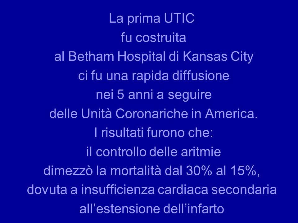 La prima UTIC fu costruita al Betham Hospital di Kansas City ci fu una rapida diffusione nei 5 anni a seguire delle Unità Coronariche in America. I ri
